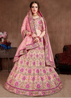 Pink Zari A Line Lehenga Choli