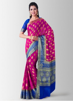 Pink Zari Art Silk Designer Traditional Saree