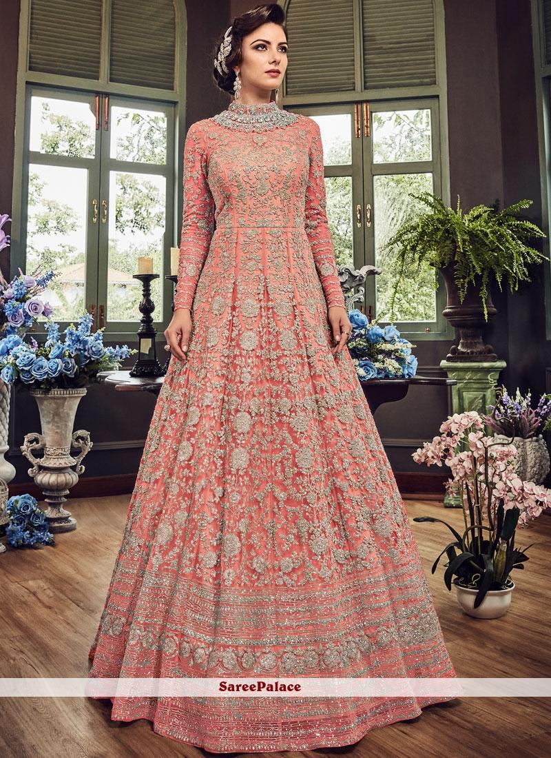 Pink Zari Floor Length Anarkali Suit