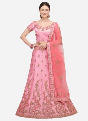 Pink Zari Mehndi A Line Lehenga Choli