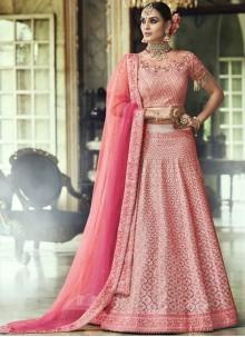 Pink Zari Net Lehenga Choli