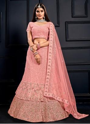 Pink Zari Velvet Lehenga Choli