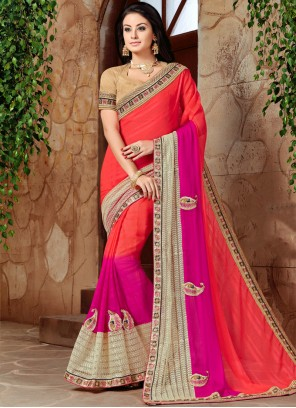 Piquant Hot Pink and Orange Shaded Saree