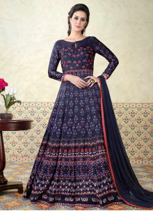 Piquant Print Work Blue Floor Length Anarkali Suit
