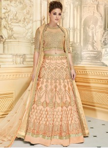 Piquant Resham Work Peach Fancy Fabric Lehenga Choli