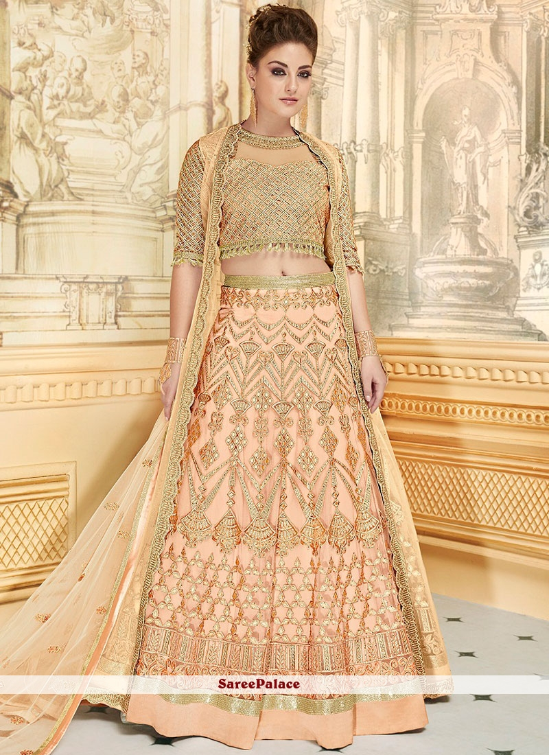 Piquant Resham Work Peach Fancy Fabric Lehenga Choli
