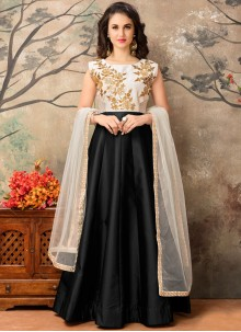 Piquant Tafeta silk Resham Work Floor Length Anarkali Suit