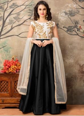 Piquant Tafeta silk Resham Work Floor Length Anarkali Suit