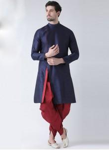Plain Art Banarasi Silk Dhoti Kurta in Navy Blue