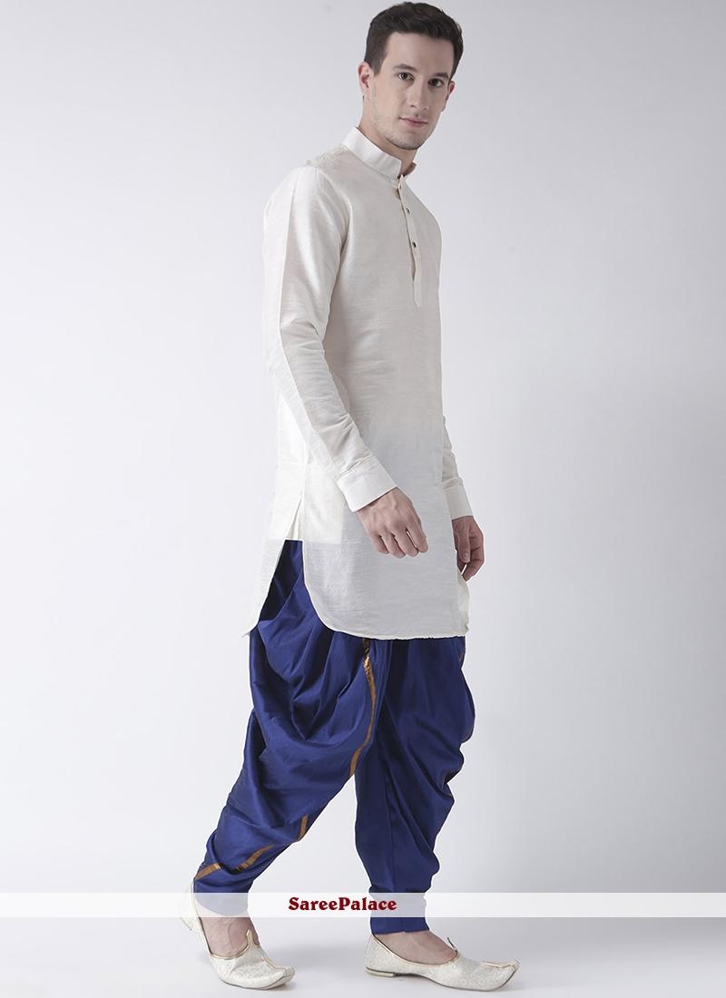 Plain Art Dupion Silk Dhoti Kurta in White