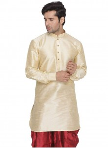 Plain Art Dupion Silk Kurta in Cream