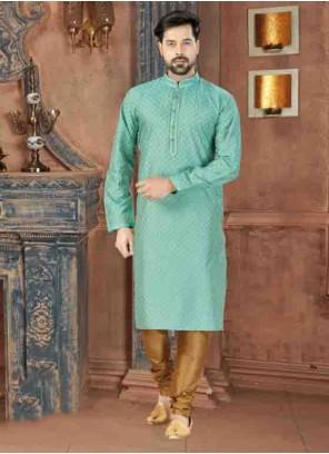 Plain Art Dupion Silk Kurta Pyjama in Sea Green