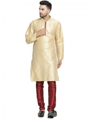 Plain Art Dupion Silk Kurta Pyjama in Cream