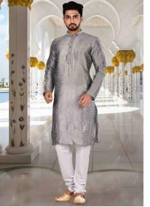 Plain Art Dupion Silk Kurta Pyjama in Grey