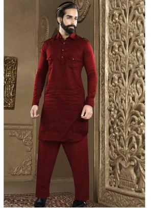 Plain Art Dupion Silk Kurta Pyjama in Maroon
