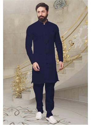 Plain Art Dupion Silk Kurta Pyjama in Navy Blue