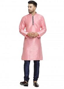 Plain Art Dupion Silk Kurta Pyjama in Pink