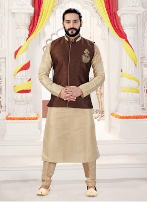 Plain Art Silk Kurta Payjama With Jacket in Brown and Gold