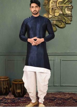 Plain Art Silk Kurta Pyjama in Blue