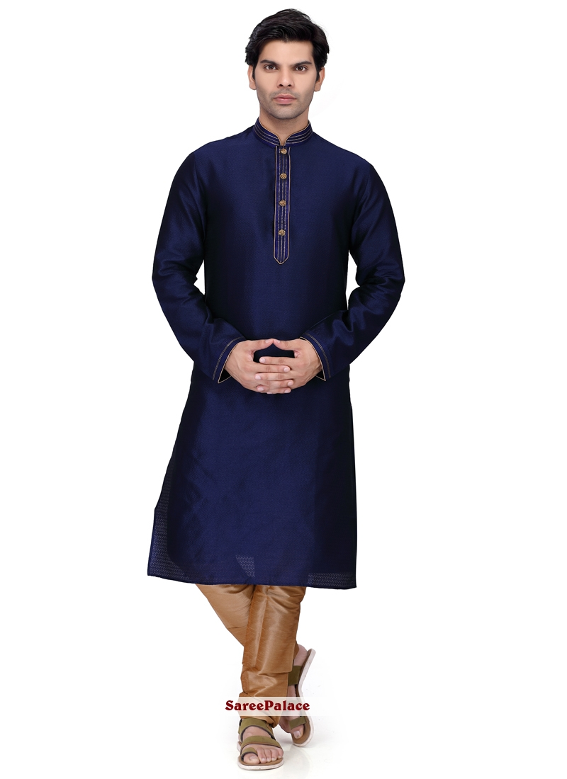 013cdebc14 Buy Plain Art Silk Kurta Pyjama in Navy Blue Online