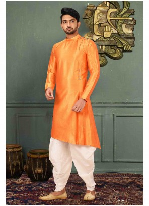 Plain Art Silk Kurta Pyjama in Orange