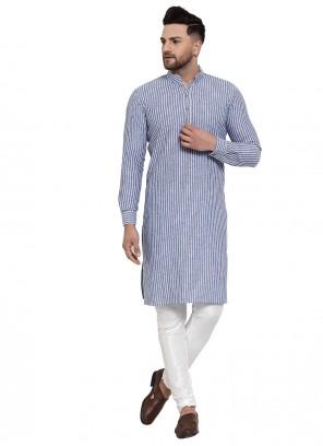 Plain Banarasi Silk Kurta Pyjama in Blue