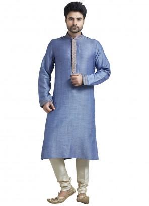 Plain Bhagalpuri Silk Kurta Pyjama in Blue