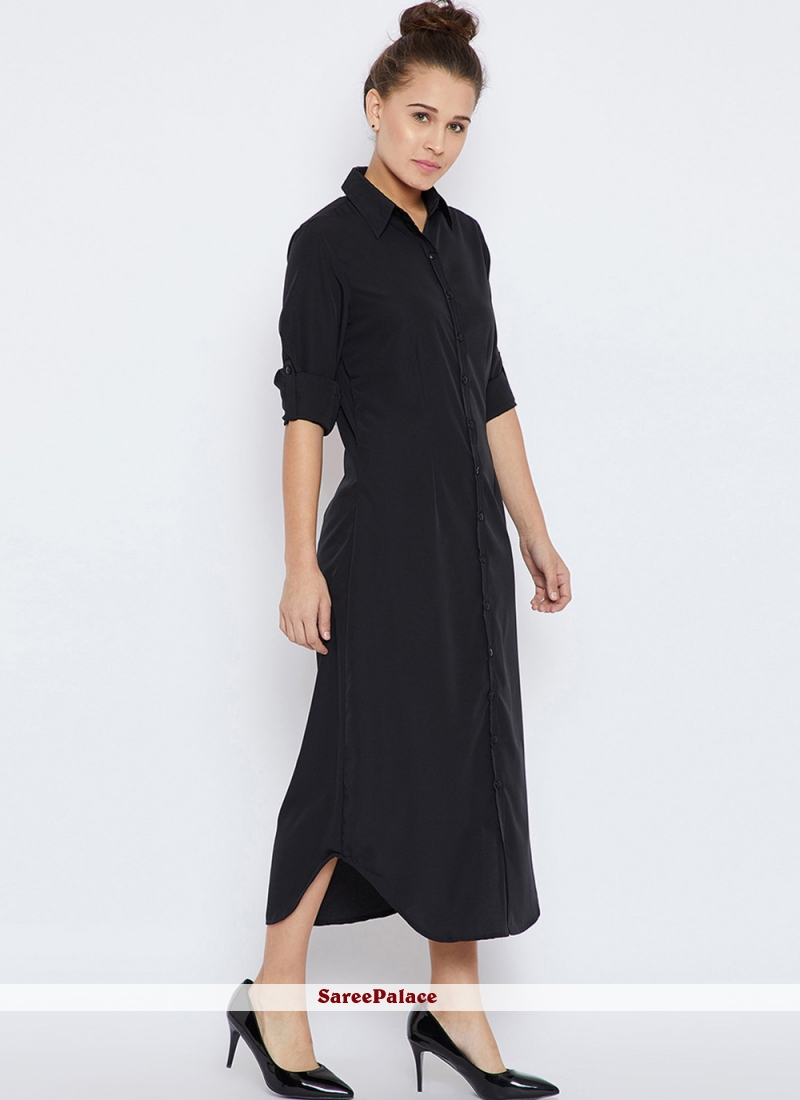 Plain Black Rayon Designer Kurti