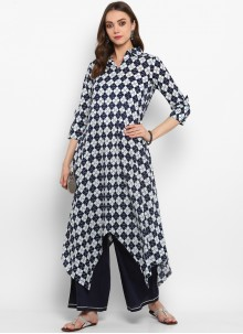 Blue Plain Cotton Casual Kurti