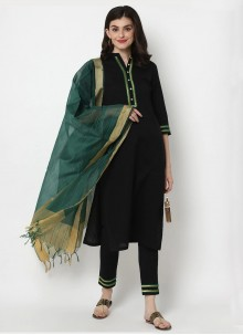 Plain Cotton Designer Salwar Kameez in Black