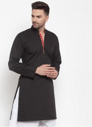 Plain Cotton Kurta in Black
