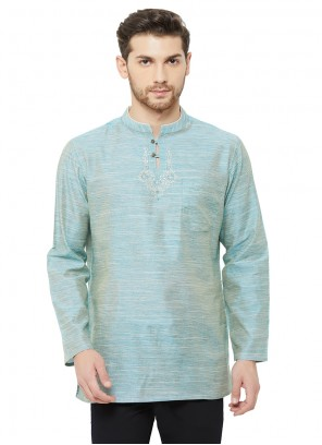 Plain Cotton Kurta in Blue