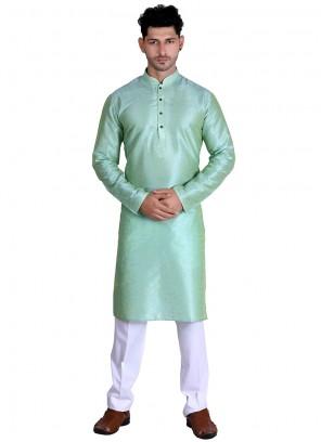 Plain Cotton Kurta in Green