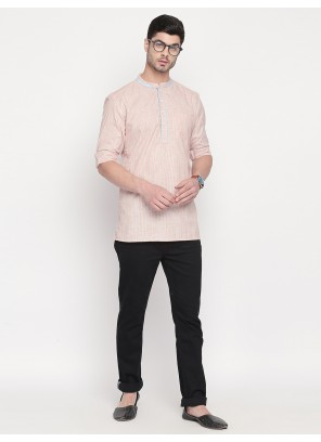 Plain Cotton Kurta in Orange