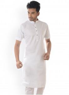 Plain Cotton Kurta in White