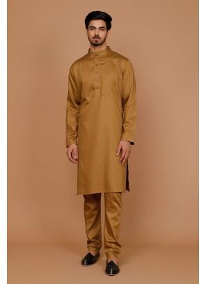 Plain Cotton Kurta Pyjama in Gold