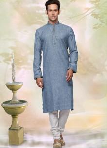 Plain Cotton Kurta Pyjama in Grey
