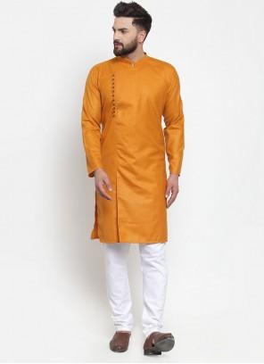 Plain Cotton Kurta Pyjama in Mustard