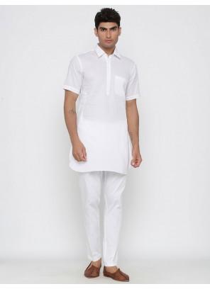 Plain Cotton Kurta Pyjama in Off White