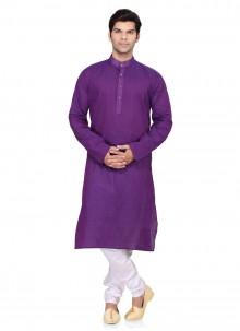 Plain Cotton   Kurta Pyjama in Purple