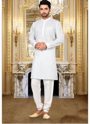 Plain Cotton Kurta Pyjama in White
