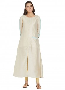 Plain Cream Silk Designer Kurti