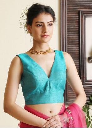Plain Dupion Silk Designer Blouse in Turquoise