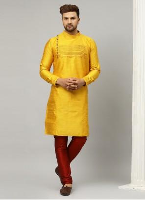 Plain Dupion Silk Kurta Pyjama in Yellow