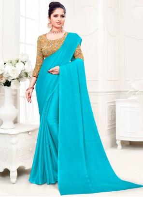 Plain Fancy Fabric Aqua Blue Trendy Saree