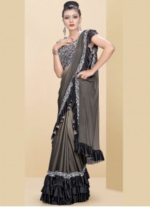 Plain Fancy Fabric Beige and Grey Classic Saree
