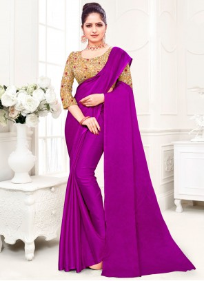 Purple Plain Fancy Fabric Trendy Saree
