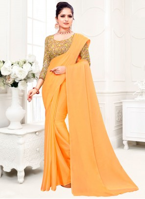 Yellow Plain Fancy Fabric Trendy Saree