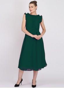 Plain Georgette Green Designer Kurti