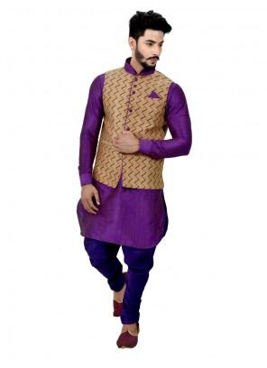Plain Giccha Silk Kurta Payjama With Jacket in Purple